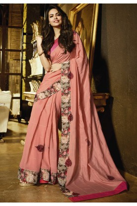 Peach Colour Party Wear Saree.
