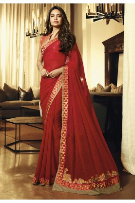 Red Colour Bollywood Saree.