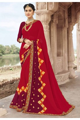 Red Colour Traditional Sari.