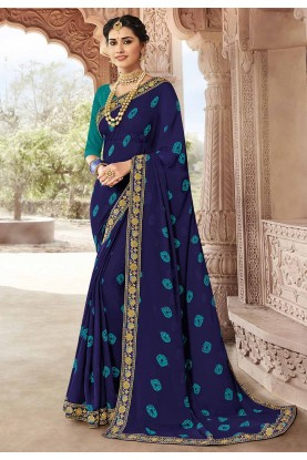 Navy Blue Colour Designer Saree.