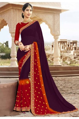 Wine,Maroon Colour Designer Bandhani Saree.