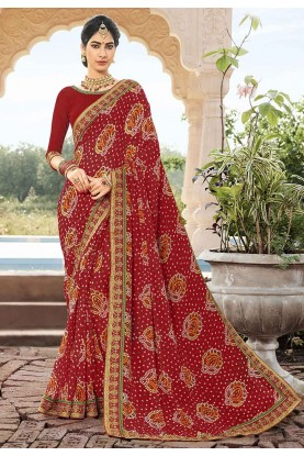 Red Colour Bandhani Saree.