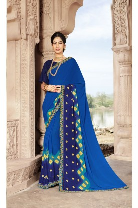 Blue Colour Party Wear Sari.
