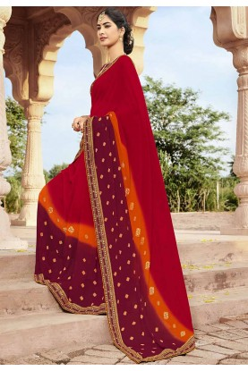 Indian Designer Saree Red Colour.