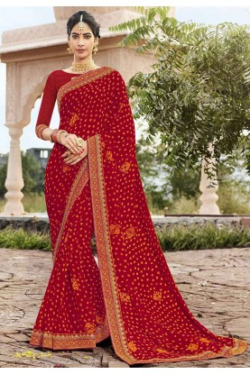 Red Colour Traditional Saree.