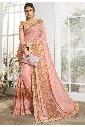 Peach Colour Embroidery Saree.