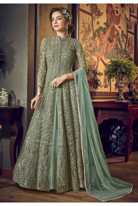 Sea Green Colour Anarkali Salwar Kameez.