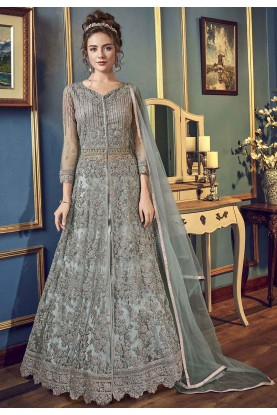Grey Colour Net Anarkali Salwar Suit.