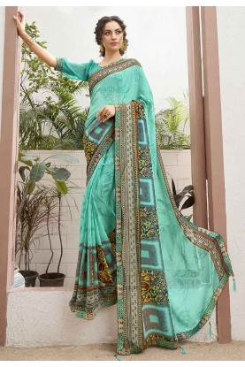 Sea Green Colour Saree.