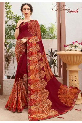 Designer Printed Saree Maroon Colour.