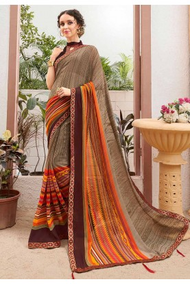 Brown Colour Georgette Sari.