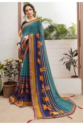 Multi Colour Printed Sari.