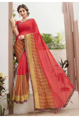 Red Colour Casual Sari.