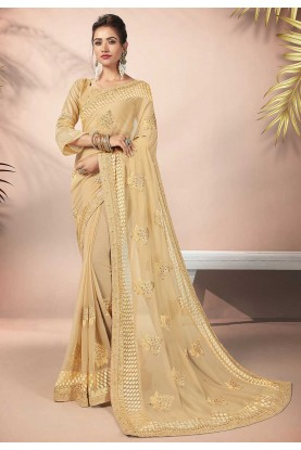 Cream Colour Designer Saree.