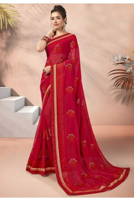 Stylish Designer Saree Red Colour.