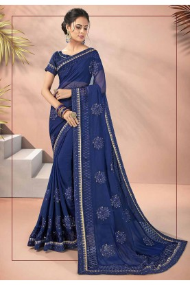 Navy Blue Colour Georgette Sari.