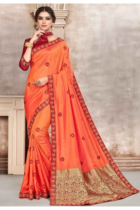 Orange Colour Indian Designer Sari.