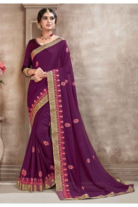 Purple Colour Party Wear Saree.