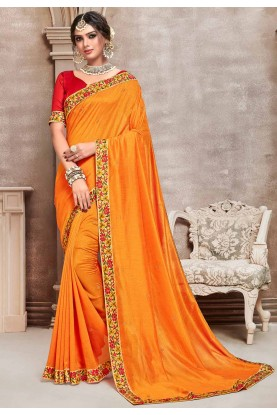 Yellow,Orange Colour Silk Traditional Saree.