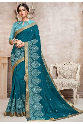 Teal Blue Colour Embroidered Saree.