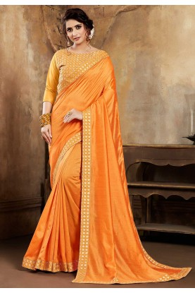 Yellow,Orange Colour Traditional Saree.