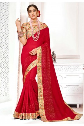 Red Colour Designer Saree.