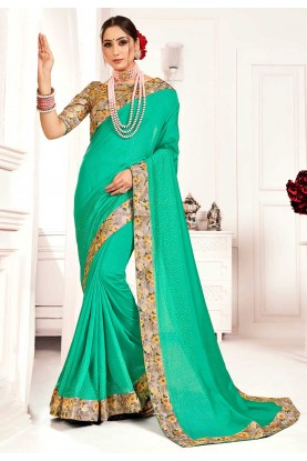 Green Colour Printed Sari.