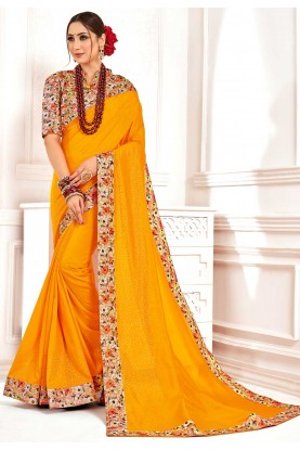 Yellow Colour Party Wear Saree.