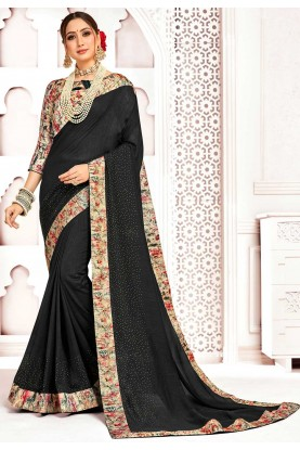 Party Wear Saree Black Colour.