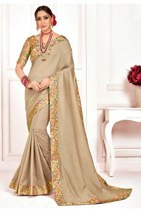 Beige Colour Silk Printed Saree.
