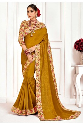 Silk Designer Saree Golden Colour.