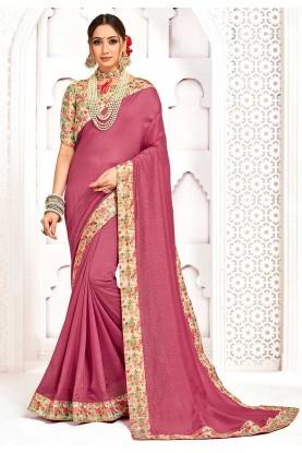 Pink Colour Silk Printed Saree.
