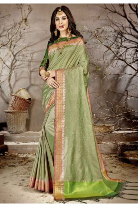 Green Colour Chanderi Silk Saree.