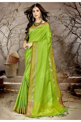 Light Green Colour Silk Sari.