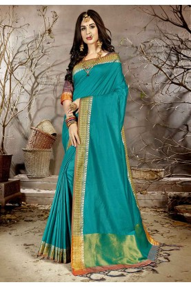 Teal Blue Colour Weaving Saree.