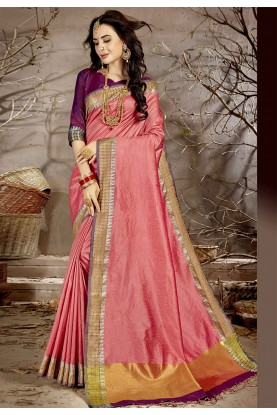 Peach Colour Chanderi Silk Sari.