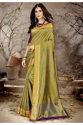 Mehandi Green Colour Silk Sari.