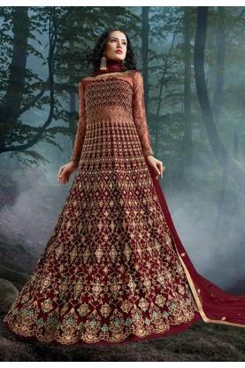 Designer Salwar Kameez Maroon Colour.