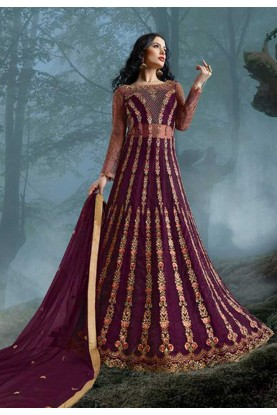 Purple Colour Net Designer Salwar Kameez.