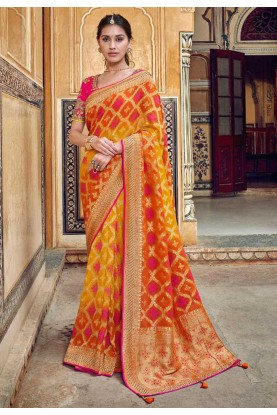 Orange,Yellow Colour Banarasi Silk Saree.