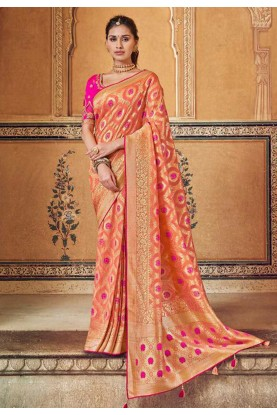 Peach Colour Designer Sari.