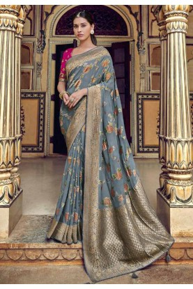 Grey Colour Weaving Saree.