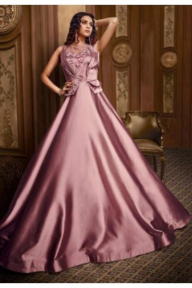 Pink Colour Readymade Designer Gown.