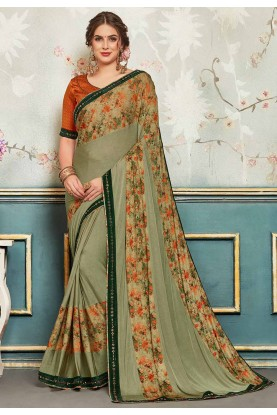Printed Saree Green Colour.