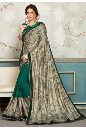 Green,Silver Colour Chiffon Saree.