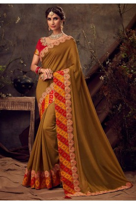 Golden Colour Silk Embroidery Saree.