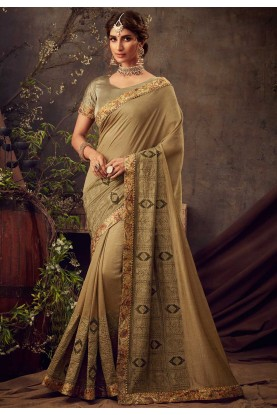 Golden Colour Silk Designer Saree.