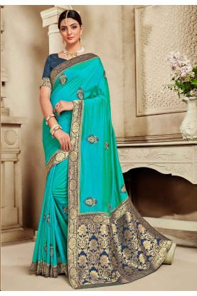 Blue Colour Embroidery Saree.