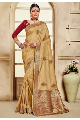 Golden Colour Designer Saree.