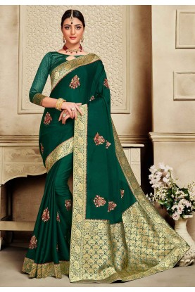 Green Colour Party Wear Saree.